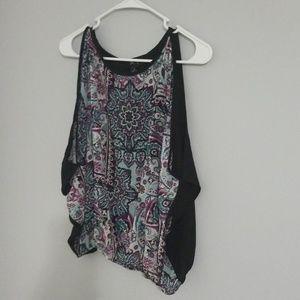 BCX, cold-shoulder top, purple & teal, size S, EUC